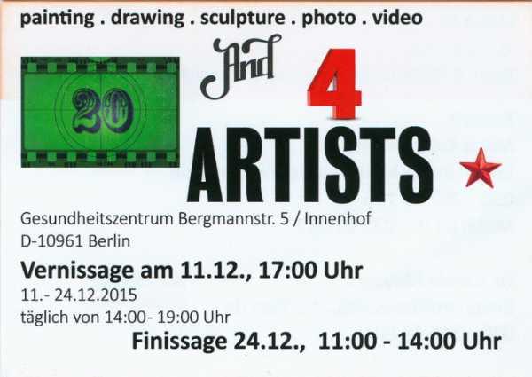 Flyer zur Gruppenausstellung »Twenty and Four Artists« im Gesundheitszentrum in der Bergmannstraße in Berlin-Kreuzberg, 2015