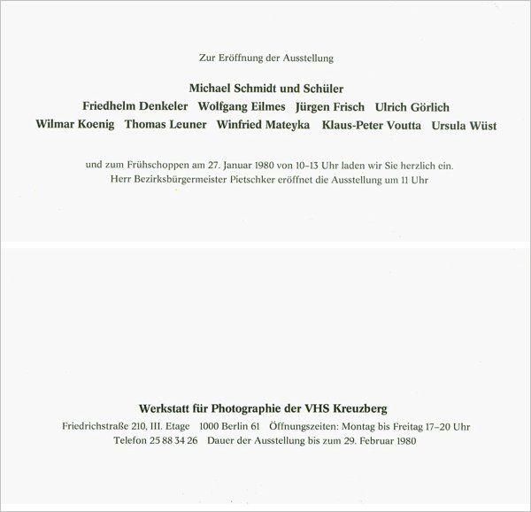 Einladungskarte zur Ausstellung »Michael Schmidt und Schüler«, Werkstatt für Photographie, 1980