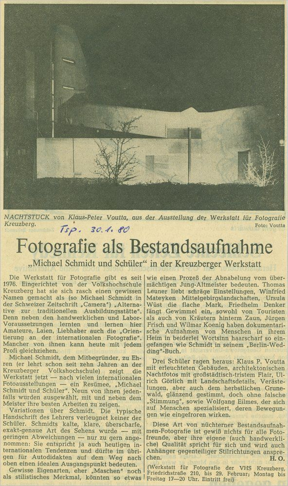 »Fotografie als Bestandsaufnahme – Michael Schmidt und Schüler in der Kreuzberger Werkstatt«, Tagespiegel 30.01.1980