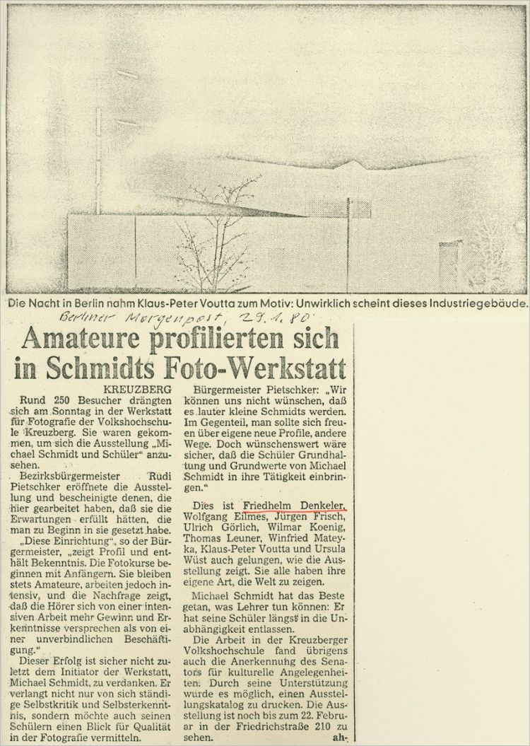 Kritik zur Ausstellung »Michael Schmidt und Schüler«, Berliner Morgenpost, 19.01.1980