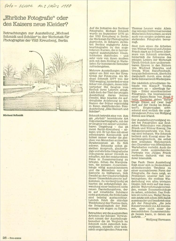 Kritik zur Ausstellung »Michael Schmidt und Schüler«, foto-scene Nr. 2/ März 1980