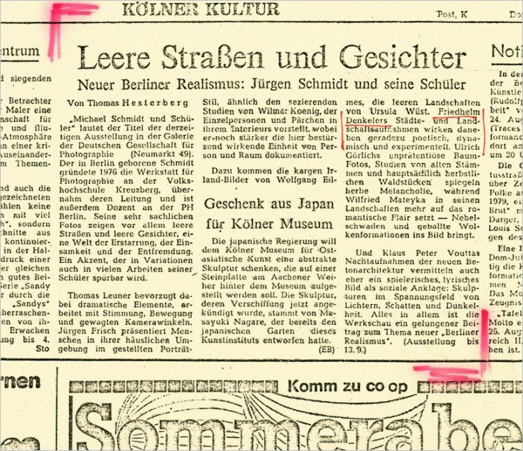 Kritik des Kölner Stadtanzeigers, Nr. 188/13 zur Ausstellung »Michael Schmidt und Schüler« in der DGPh in Köln