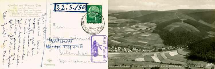 Ansichtskarte vom 22. Mai 1956 mit dem Stempelabdruck »Aug. Meinert (mit Kaninchen)«