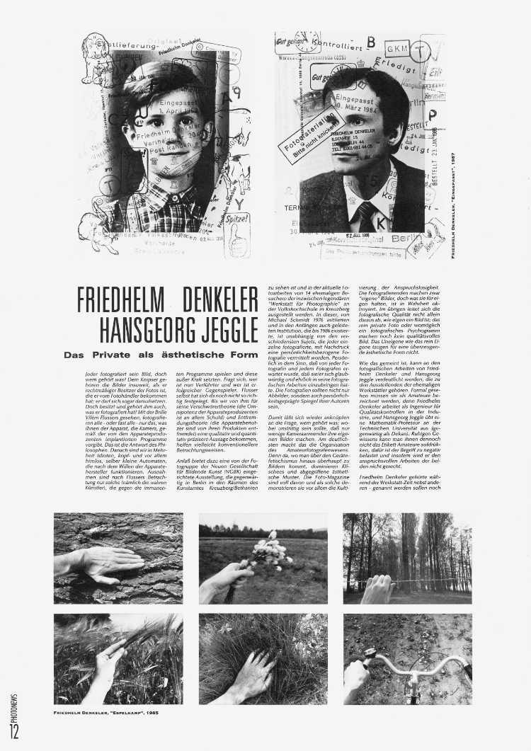PHOTONEWS Nr. 10. Oktober 1991, Beitrag von Enno Kaufhold zu zwei Portfolios von Friedhelm Denkeler