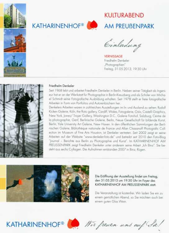 """Einladungskarte zur Ausstellung """"Friedhelm Denkeler – Photographien"""" im Katharinenhof am Preußenpark"""", 01.06. - 31.08.2013"""