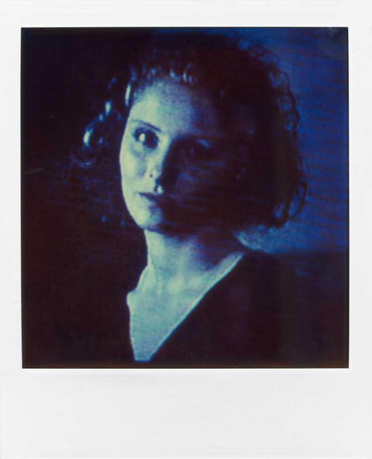 »Domiziana Giordano«, aus der Serie »TV-Porträt«, Polaroid SX-70, Foto © Friedhelm Denkeler 1987