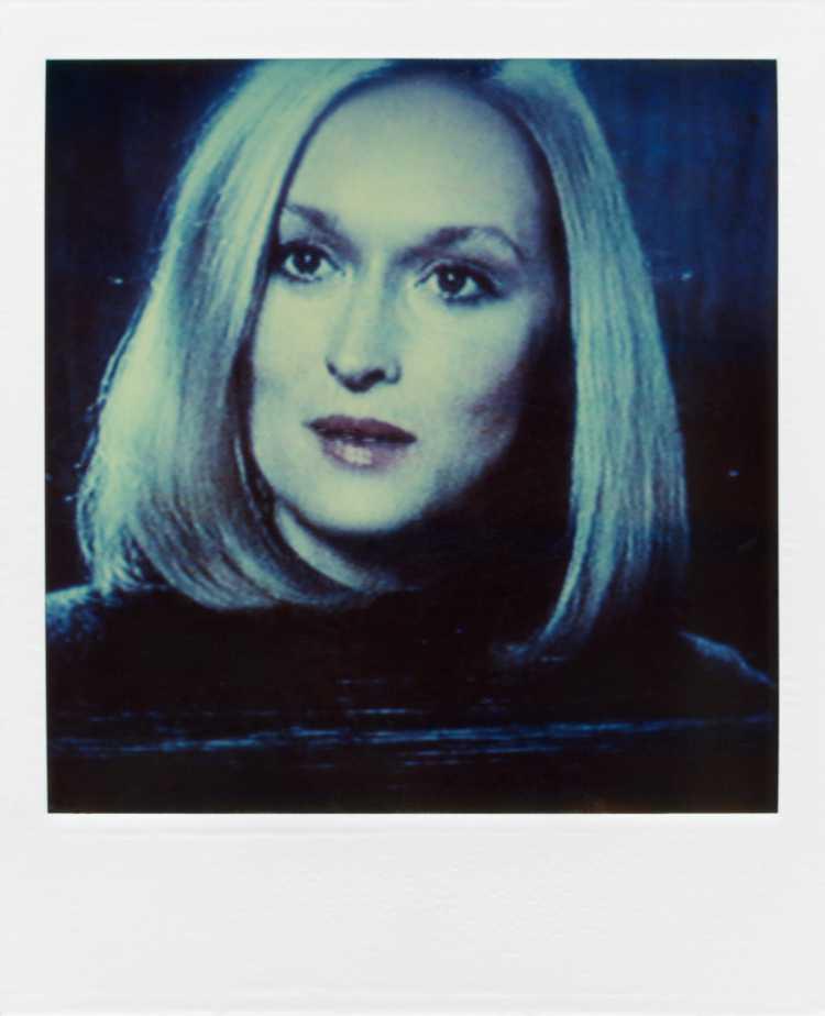 »Meryl Streep«, aus der Serie »TV-Porträt«, Polaroid SX-70, Foto © Friedhelm Denkeler 1987
