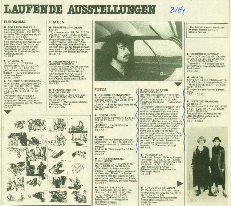 Ankündigung der Ausstellung »Friedhelm Denkeler – Photographien« 1978-191 im Stadtmagazin ZITTY