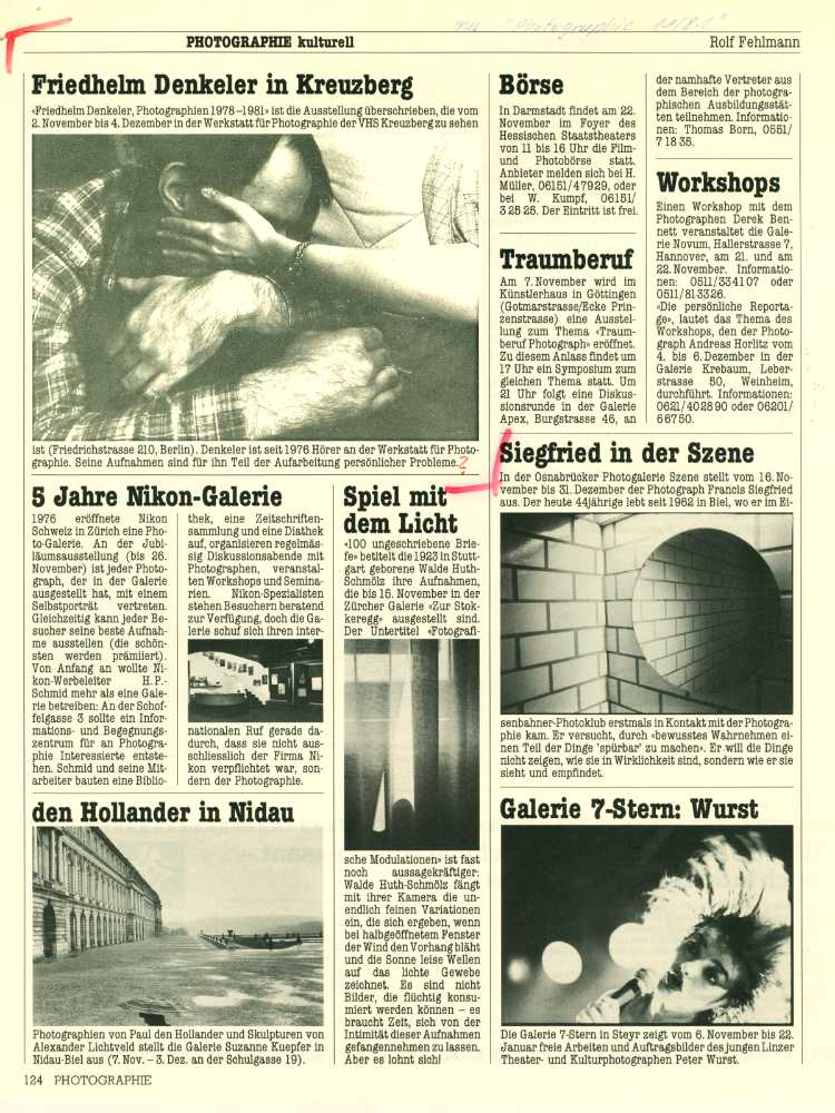 Zeitschrift »Photographie«, Nr. 11/1981, »Friedhelm Denkeler in Kreuzberg«
