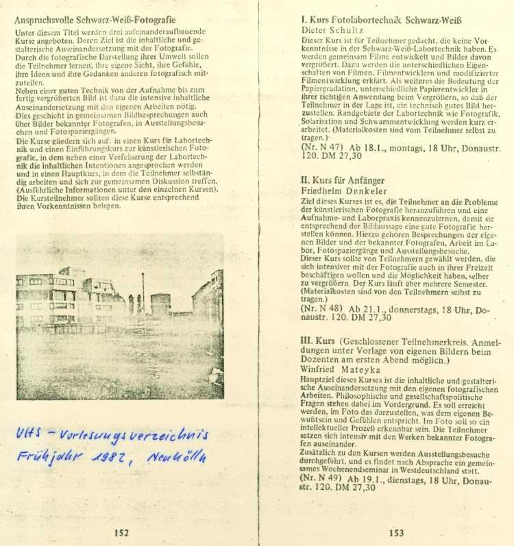 Vorlesungsverzeichnis der VHS Neukölln mit einem Kurs von Friedhelm Denkeler