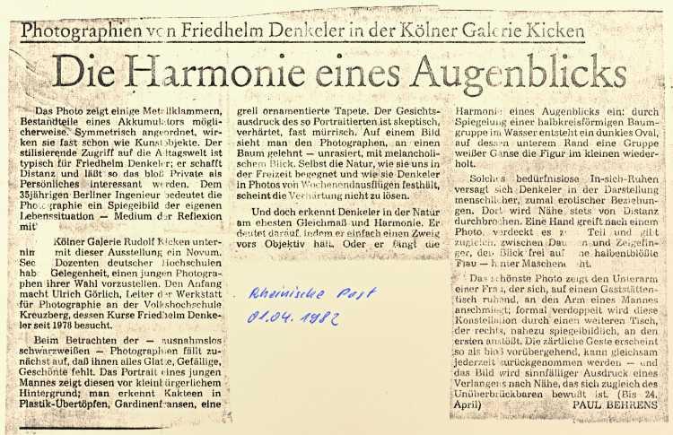 »Die Harmonie des Augenblicks«, Ausstellung in der Galerie Kicken, Köln, 19. März bis 24. April 1982 (Einzelausstellung Friedhelm Denkeler)