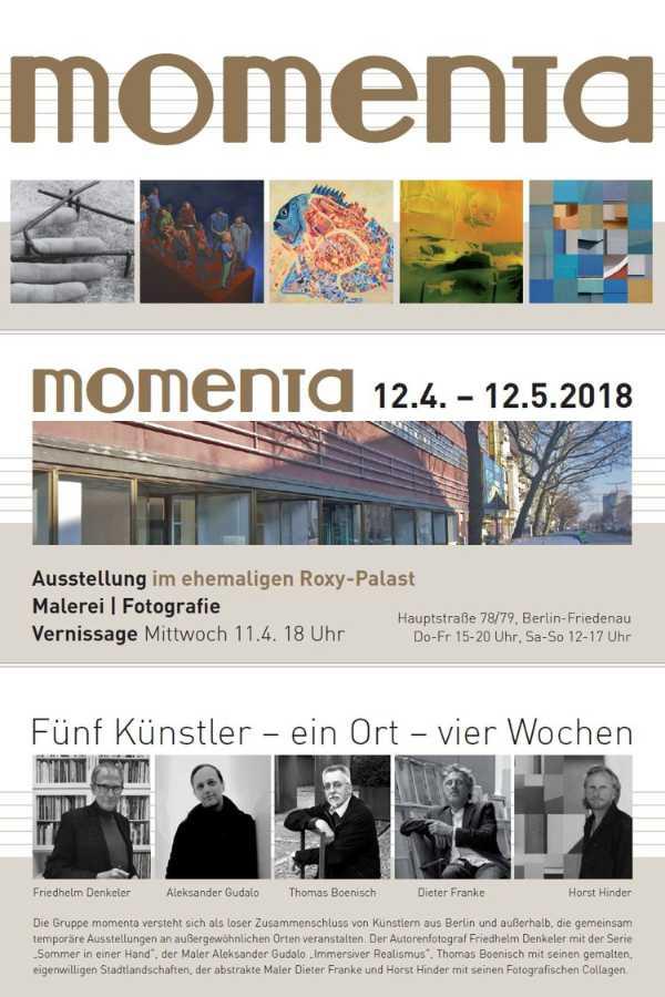 Einladung zur Vernissage der »momenta«-Ausstellung im Roxy-Palast Berlin-Friedenau, 2018