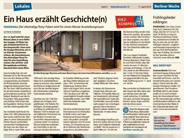 »Berliner Woche«, 11. April 2018 zum Roxy-Palast und zur »momenta«-Ausstellung