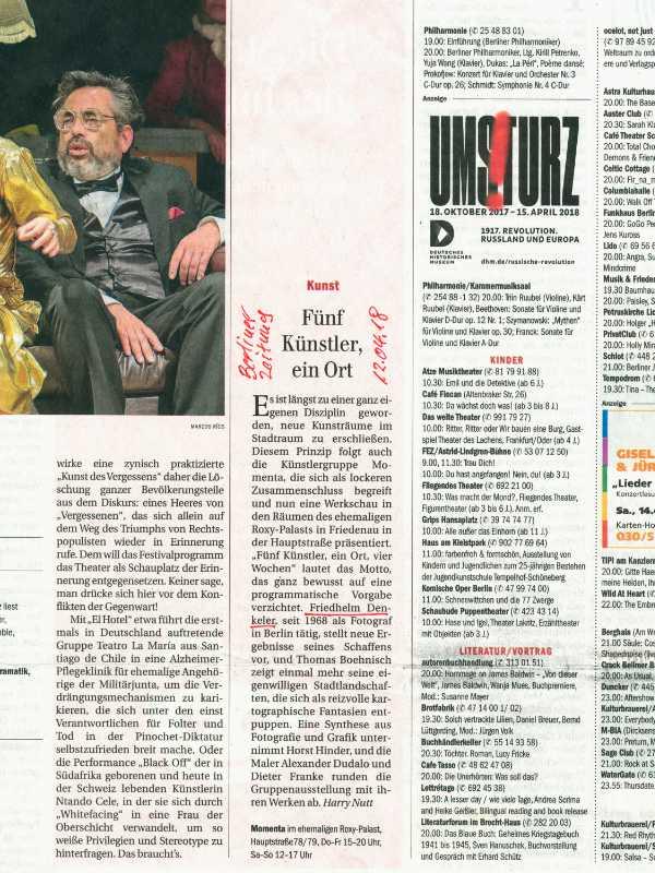 »Berliner Zeitung« vom 12. April 2018 zur »momenta«-Ausstellung im Roxy-Palast Berlin-Friedenau