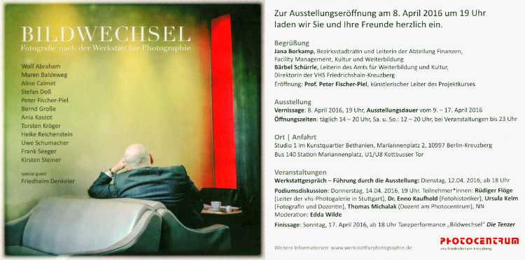 Einladungskarte zur Ausstellung »Bildwechsel – Fotografie nach der Werkstatt für Photographie«, Kunstquartier Bethanien, 2016