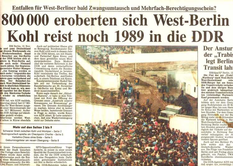 »Berliner Morgenpost vom 9. November 1989«