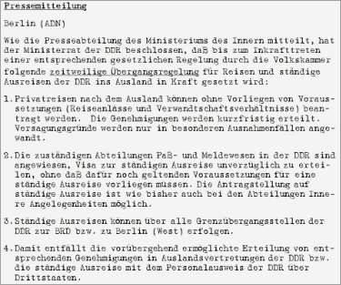 »Pressemitteilung der ADN-Nachrichtenagentur (DDR) zur Erleichterung der Reisemöglichkeiten für DDR-Bürger«, 9. November 1989