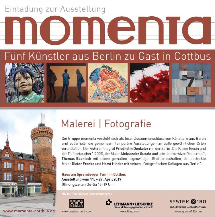 Einladungskarte zur Ausstellung »momenta« – Fünf Künstler aus Berlin zu Gast in Cottbus, 2019