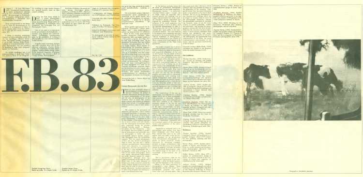 »F.B.83 – Fotobiennalen 1983«, Trondhjem Kunstforening 02.-26.06.1983 + Fotogalleriet Oslo 07.04.-07.08.1983