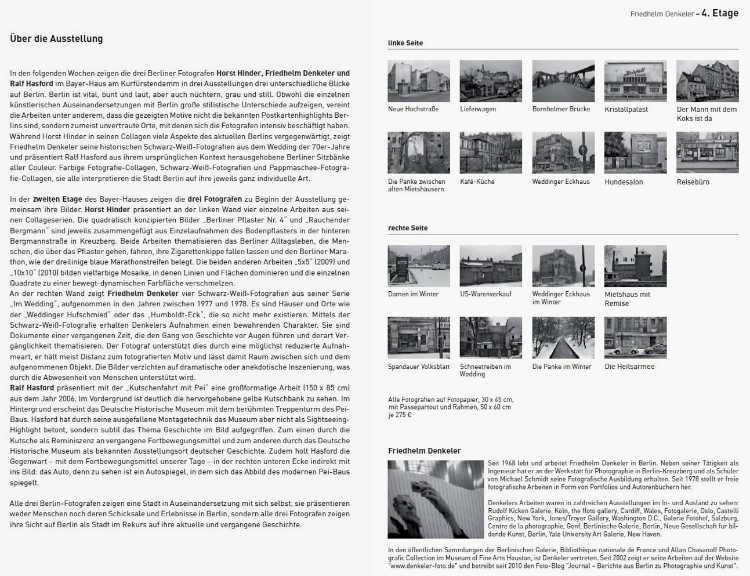 Katalog zur Ausstellung »3 x Berlin – Fotografische Arbeiten – Drei Ausstellungen auf vier Etagen« im Bayer-Haus am Kurfürstendamm, 25.01. - 21.03.2013