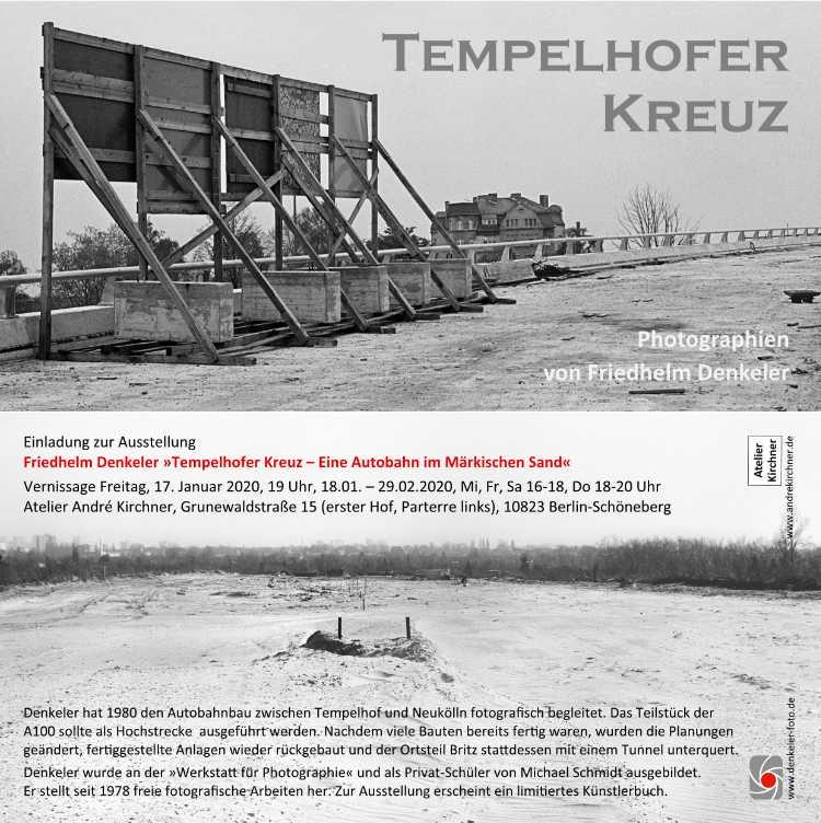 Einladungskarte zur Ausstellung »Tempelhofer Kreuz«, Atelier André Kirchne, Berlni, 2020 Ausstellung vom 18. Januar bis 29. Februar 2020