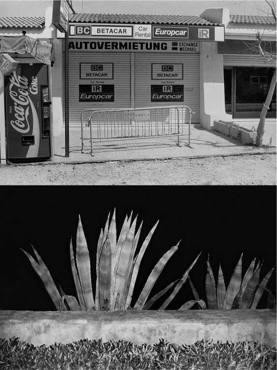 Aus dem Portfolio »Eine Mallorquinische Nacht« (Autovermietung/ Tanzende Agaven), Foto © Friedhelm Denkeler 1993