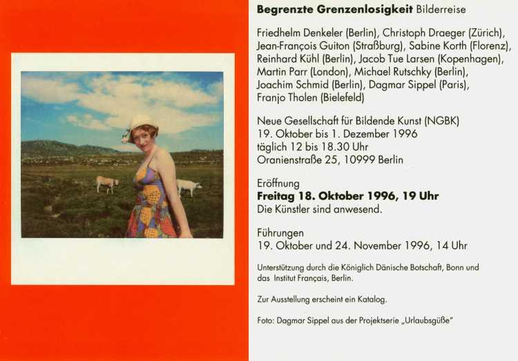 Einladungskarte »Begrenzte Grenzenlosigkeit – Bilderreise«, Neue Gesellschaft für bildende Kunst NGBK),1996