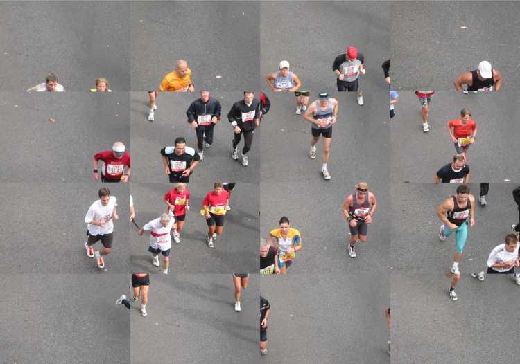 Portfolio »Marathon« (Collage), Berlin, Bild 2 von 3, Fotos/ Collage © Friedhelm Denkeler 2002