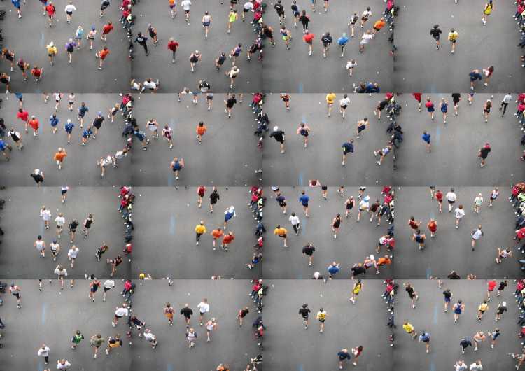 Portfolio »Marathon« (Collage), Berlin, Bild 3 von 3, Fotos/ Collage © Friedhelm Denkeler 2002