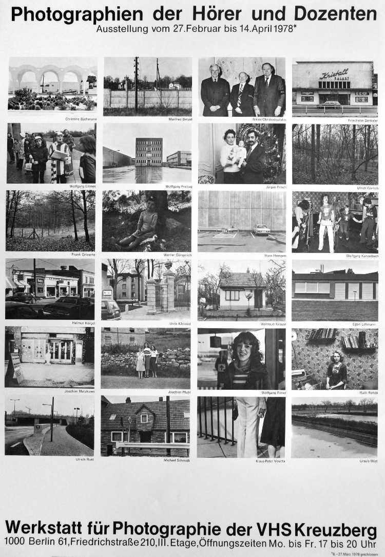 Plakat der Werkstatt für Photographie: »Photographien der Hörer und Dozenten«, 1978, Foto © Friedhelm Denkeler