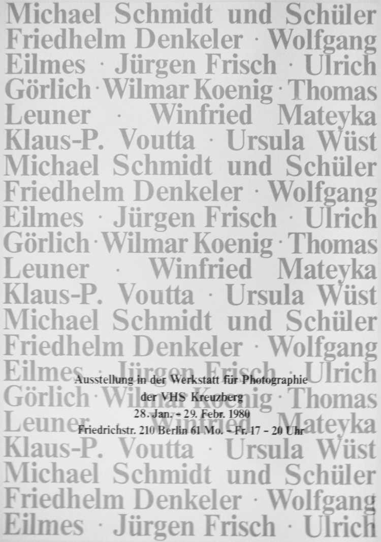 Plakat der Werkstatt für Photographie: »Michel Schmidt und Schüler«, 1980, Foto © Friedhelm Denkeler