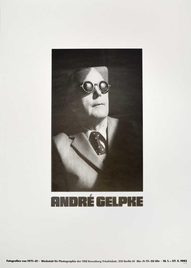Plakat der Werkstatt für Photographie: »Andre Gelpke«, 1982, Foto © Friedhelm Denkeler
