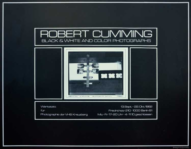 Plakat der Werkstatt für Photographie: »Robert Cumming – Black & White and Color Photographs«, 1982, Foto © Friedhelm Denkeler