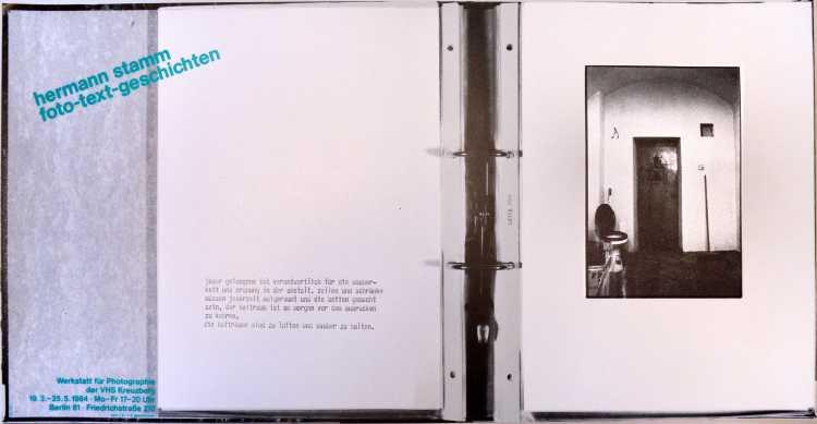 Plakat der Werkstatt für Photographie: »Hermann Stamm – Foto-Text-Geschichten«, 1984, Foto © Friedhelm Denkeler