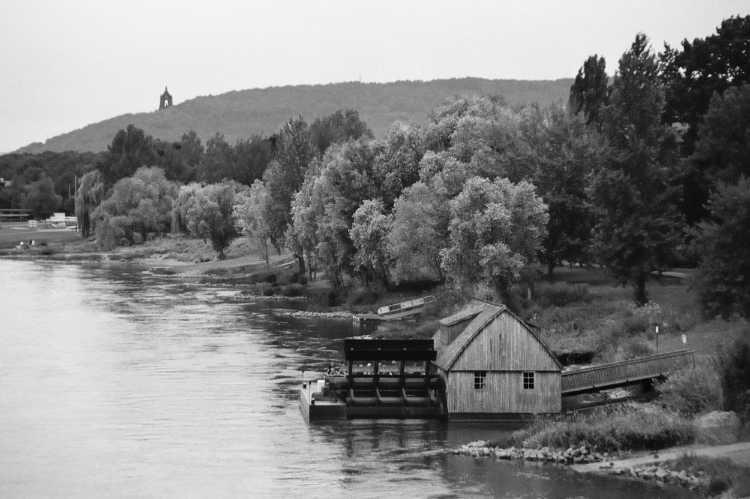»Schiffmühle Minden«, Mühle Nr. 42 (Schiffsmühle), auf der Weser vor Minden, Foto © Friedhelm Denkeler 2005