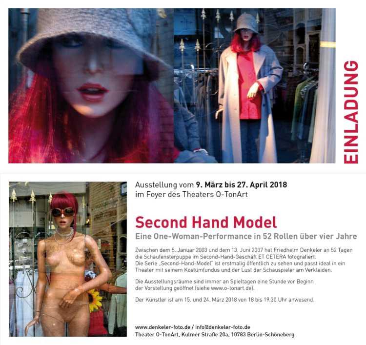Einladungskarte zur Ausstellung »Second Hand Model« im Theater O-TonArt, Berlin-Schöneberg, 2007
