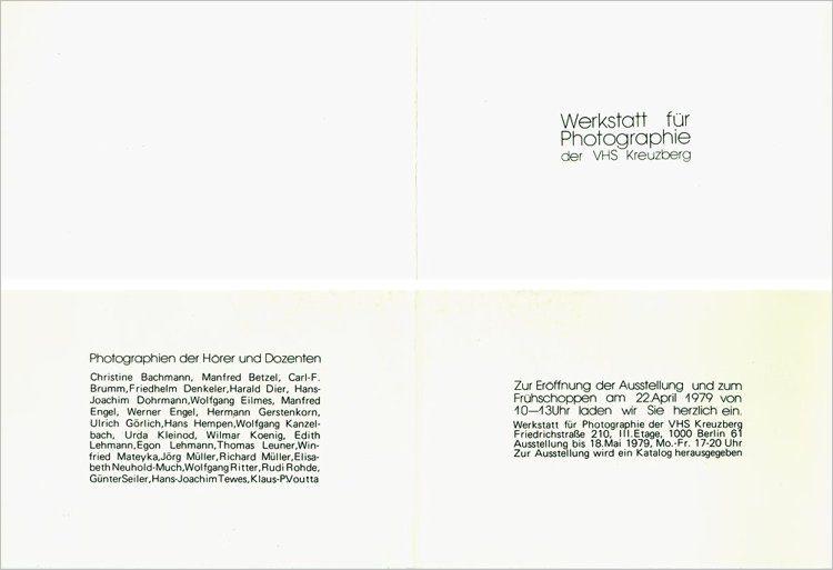 Einladungskarte »Werkstatt für Photografie« zur Ausstellung der Hörer und Dozenten, 1979