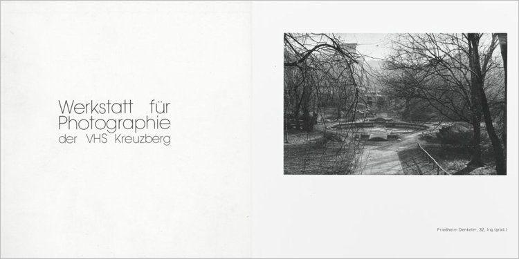 Katalog »Werkstatt für Photographie – Photographien der Hörer und Dozenten«, 23. April bis 18. Mai 1979 (aufgeschlagenes Foto: Friedhelm Denkeler)