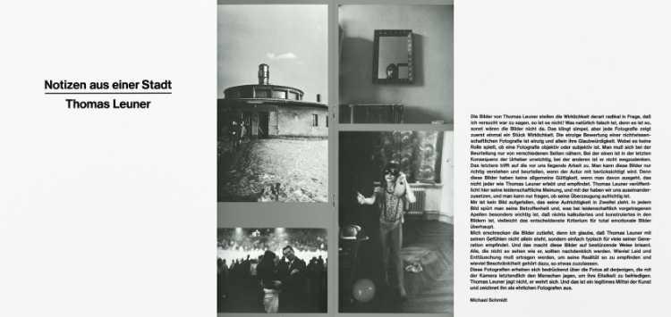 »Notizen aus einer Stadt – Thomas Leuner«, Einzelausstellung in der Werkstatt für Photographie, 21. April bis 16. Mai 1980